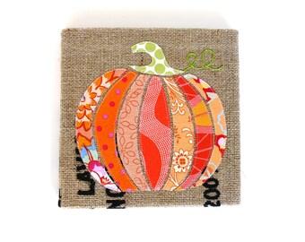 SALE - Pumpkin -- Burlap Art, 9 x 9 inch -- Ready to ship