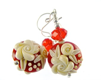 Lampwork Earrings, Glass Bead Earrings, Red Floral Earrings, Ivory Flower Earrings, Glass Bead Jewelry, Beadwork Earrings, Lampwork Jewelry