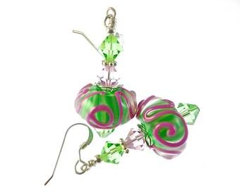 Lavender Lampwork Earrings, Glass Bead Earrings, Dangle Earrings, Cool Beadwork Earrings, Green Lampwork Jewelry