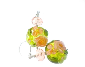 Peach Lampwork Earrings, Green Handmade Glass Bead Earrings, Flower Lampwork Jewelry, Beadwork Drop Earrings, Floral Beaded Earrings