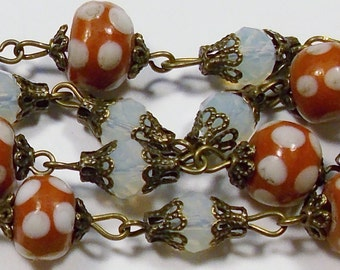 Vintage Russet with White Dots Lampwork Glass & Crystal Bead Necklace