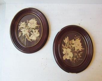 SALE Pair Vintage Turner Floral Print - Oval Frames - Burgandy - Magnolia Flower Prints