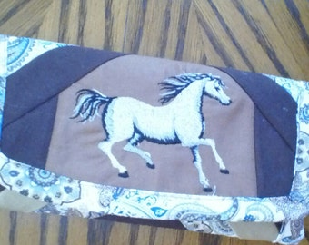 horse embrodered wallet