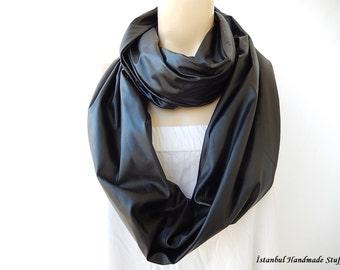Black Leather Scarf- Vegan  Leather Infinity Scarf