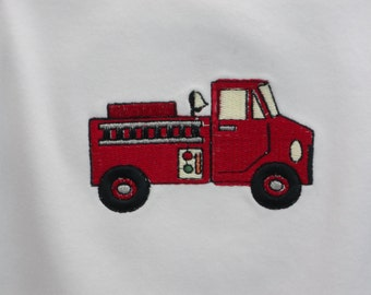 Onesie Fire Truck embroidery design on a one piece baby bodysuit long or short sleeve (JL004)