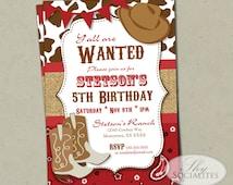 Red Cowboy Invitation   Country Western, Cowboy Birthday, Bandana, Cowboy Hat, Cowboy Boots, Burlap, Bunting   Printed or Instant Download