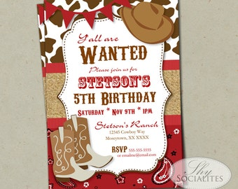 Red Cowboy Invitation | Country Western, Cowboy Birthday, Bandana, Cowboy Hat, Cowboy Boots, Burlap, Bunting | Printed or Instant Download