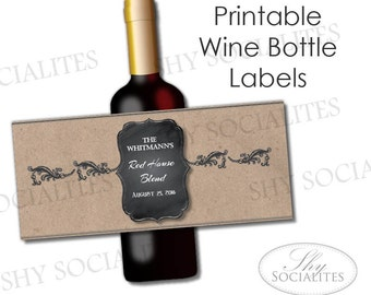 Wine label template | Etsy