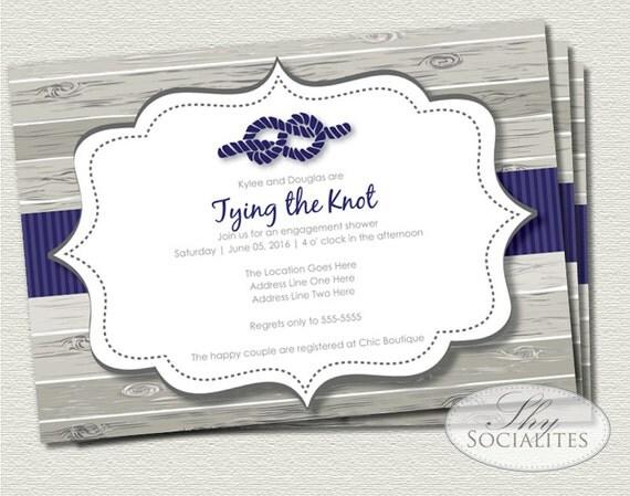 The Knot Addressing Wedding Invitations: Tying The Knot Nautical Invitation Bridal Shower Wedding