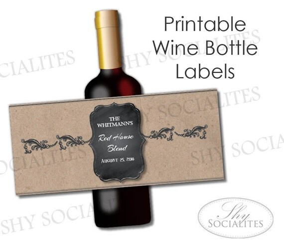brown paper kraft printable wine label hostess gift