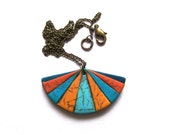 Modern oriental fan necklace Polar Lights geometric polymer clay faux leather pendant necklace turquoise blue teal sunny yellow orange