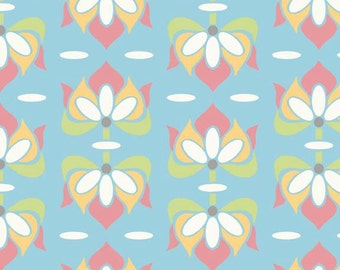 Priscilla blue floral by Lila Tueller for Riley Blake- 1/2 yard