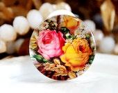 Sale 20mm 25mm 30mm 4pcs Handmade Photo Glass Cabochon -Image Glass Cabochon-( Flower )-(HPGC-4357)