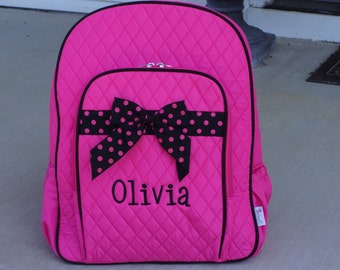 """Personalized 16.5"""" Girls Quilted Backpack- Fuchsia and Black"""