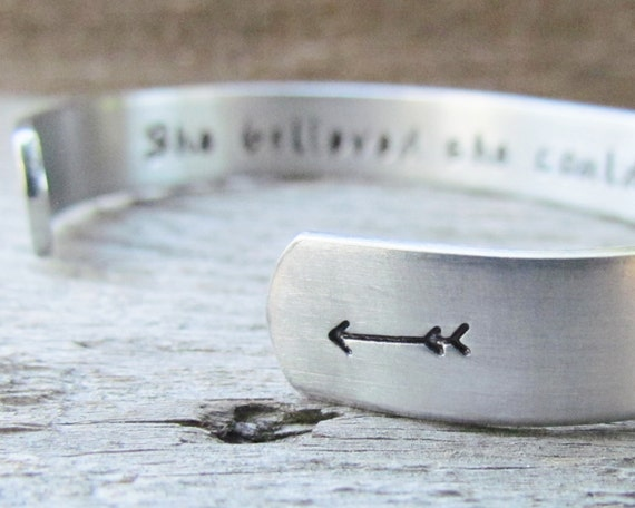 SET of 4 Bracelet Secret Message Hand Stamped Jewelry Cuff Aluminum She Believed She Could So She Did Personalized Inspirational Milestone
