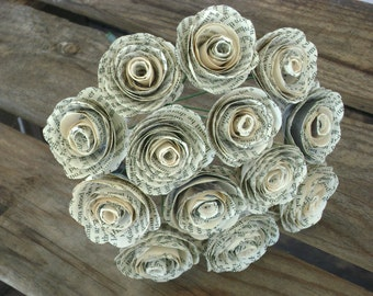 "bakers dozen 13 spiral book page 1-1 1/2"" sized rolled paper roses bouquet rehearsal toss reception weddings  farmhouse decor ready to ship"