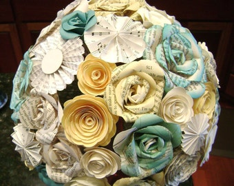 The Cara bridal bouquet  in aqua teal and yellow paper roses