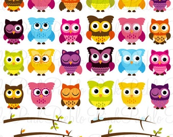 Cute Owl Clipart Clip Art, Owl and Seasonal Branches Clipart Clip Art Vectors - Commercial Use