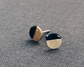 Paint Dipped Circle Earrings - Raw Brass Circle, Paint Dipped, Sterling Silver Stud Earrings, Minimalist Geometric Jewelry, Gifts For Her
