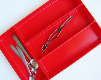 Flatware Tray Red Plastic Daggett Silverware Utensil Tray Organizer 1950's Kitchen Daggett Mfg. Co. of South Pasadena, California