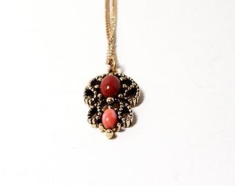 Agate Pendant- Vintage Avon- 1974 Necklace- Castillian Pendant- In Original Box- Filigree Pendant- Gemstone Necklace- Orange Necklace