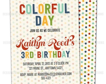 Vintage Crayon Invitation, colorful party, crayola inspired polka dots printable invitation, I will customize for you
