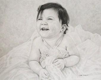 Custom Pencil Portrait Commission Baby