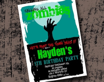 Zombie Birthday Party Invitation Printable