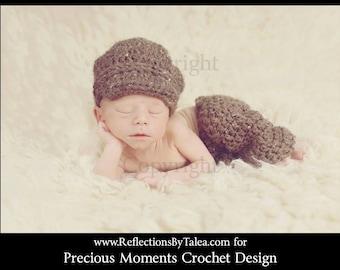 Newborn Pants and Newsboy Cap, Baby Boy Pants and Newsboy Hat, Crochet Long Pants and Hat Set, Newborn  PHOTO PROP