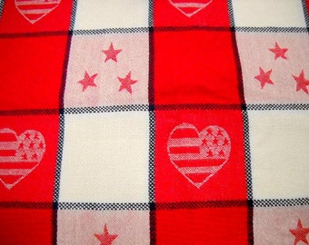 Red Plaid Fabric, 1 yard Remnant, Sewing Notions, Mystery Fabric