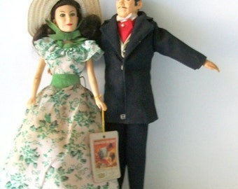 Vintage Gone With The Wind Scarlett O'Hara and Rhett Butler Dolls