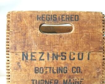 Antique Wood Nezinscot Bottling Co.Box/Crate-Turner,Maine, Dovetail Wooden Box
