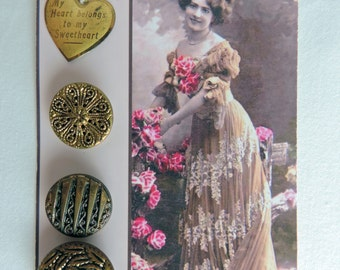 1930's Buttons Free Shipping Vintage Brass Button Card and Charm My Heart Belongs to My Sweetheart