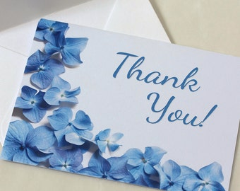 Blue Hydrangea Thank You Card, Thank You Note, DEPOSIT