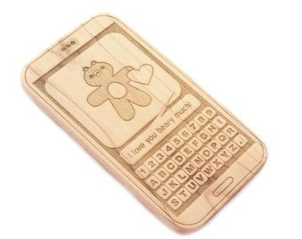 Baby phone toy wood teether bear