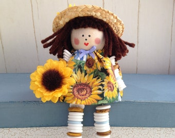 Sunflower Button Doll