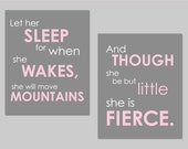 """Pink and Gray Nursery Prints- Set of two Prints - Let Her Sleep and She is Fierce Shakespeare and Napoleon Prints Girl Nursery Art - 8""""x10"""""""