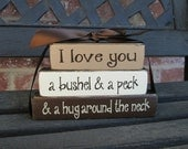 I love you a bushel and a peck...MINI stacker blocks(TAN)