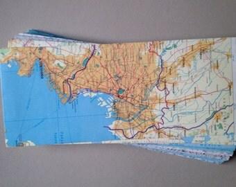 "Map Envelopes-World Atlas Envelopes--Open End/Square Flap Envelopes-Size 9 1/2"" x 4 1/8""--Upcyled Map Envelopes"