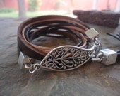 LEAF & LEATHER wrap bracelet with square end caps and tassel (981)