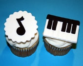 Fondant cupcake toppers Piano Music Keyboard Musical Notes