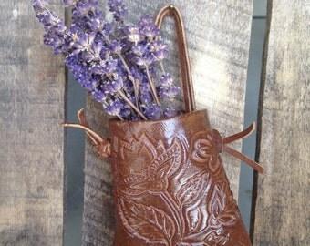 Chocolate brown floral imprint wall pocket