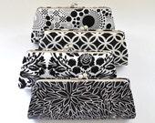 CUSTOM CLUTCH - Black and White Clutch -Bridesmaid Clutch- You choose the fabric
