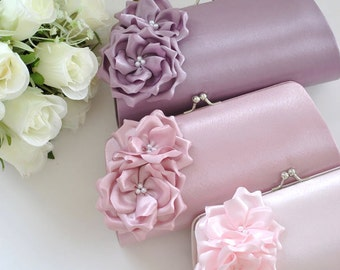 Lilac / Dusty Rose / Pale Pink - Bridesmaid Clutch / Bridal clutch - Choose the color you like