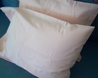 Just Peachy - peach repurposed cotton sheet, handmade travel pillow case pair fit 12x16 lumbar pillow - crazyadsteam