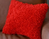 PILLOW-with filling- red silky furry fleece - 16 by 16