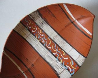 Unusual leaf shaped mid century vintage West German 1058  matte glazed ceramic pottery dish bowl