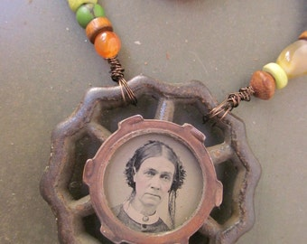 Antique Tintype Found Object Necklace / Instant Ancestors