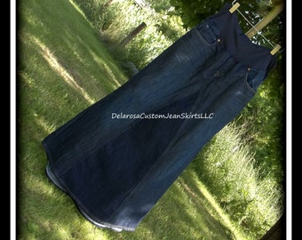 DELAROSA Custom to Your Size Maternity Jean Skirt Long length size S M L