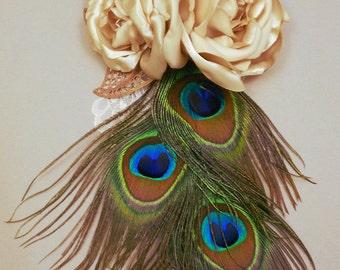 Rose & Peacock Feather Fascinator
